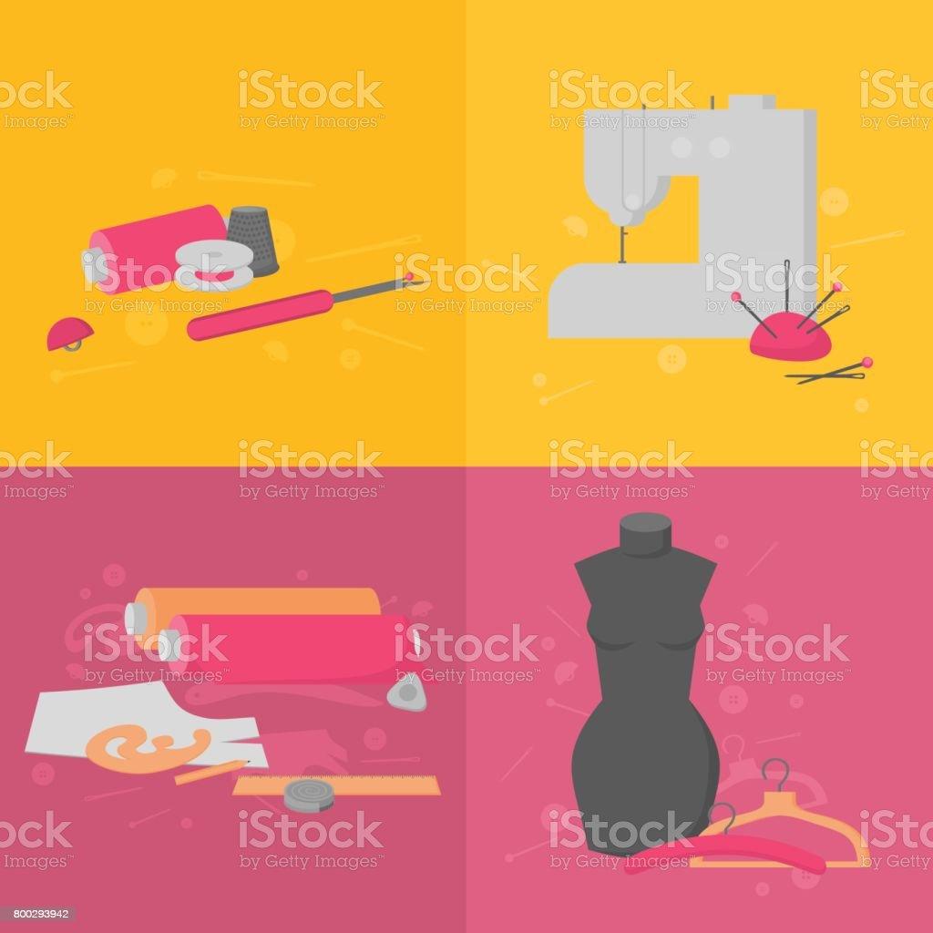 Design elements banner - Flat Tailor Shop Design Elements Tailoring Industry Dressmaking Tools Icons