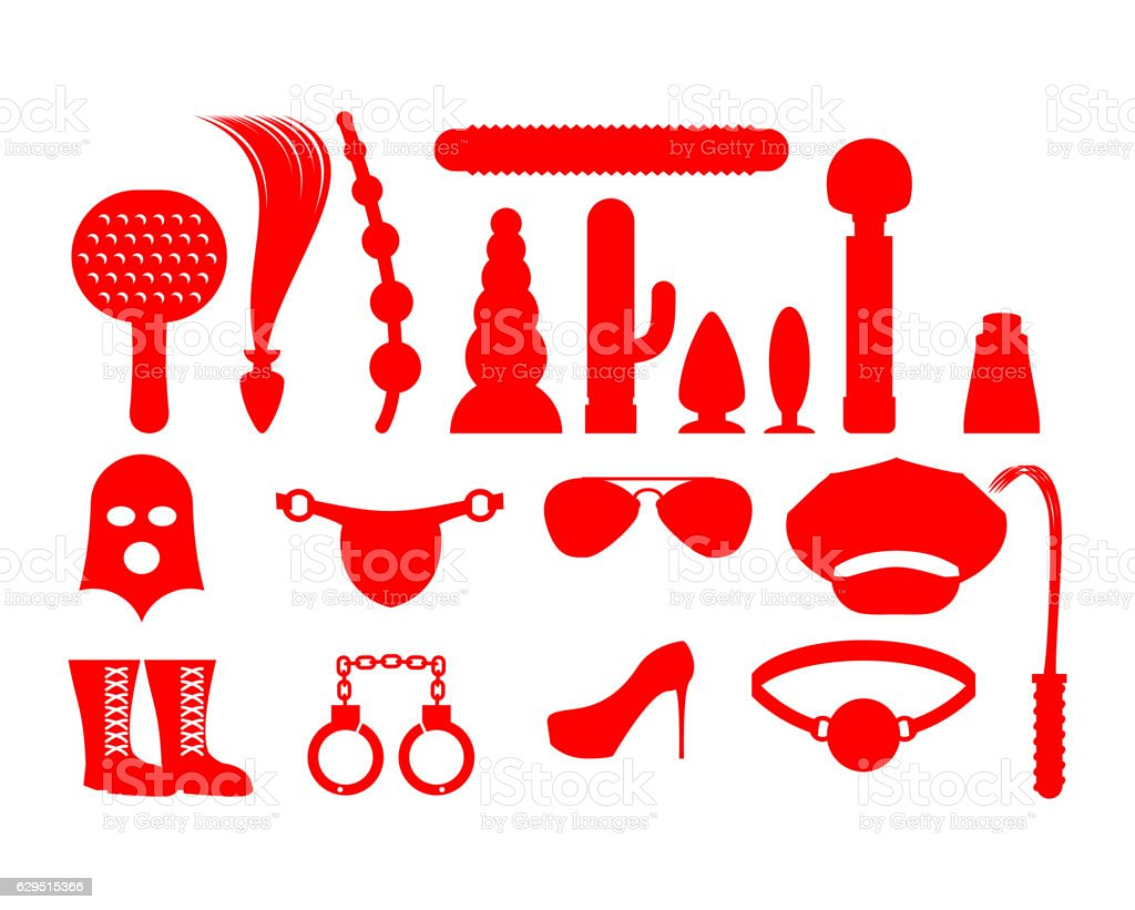 Sex icons for BDSM. Sextoys for xxx. Knut and gag. vector art illustration