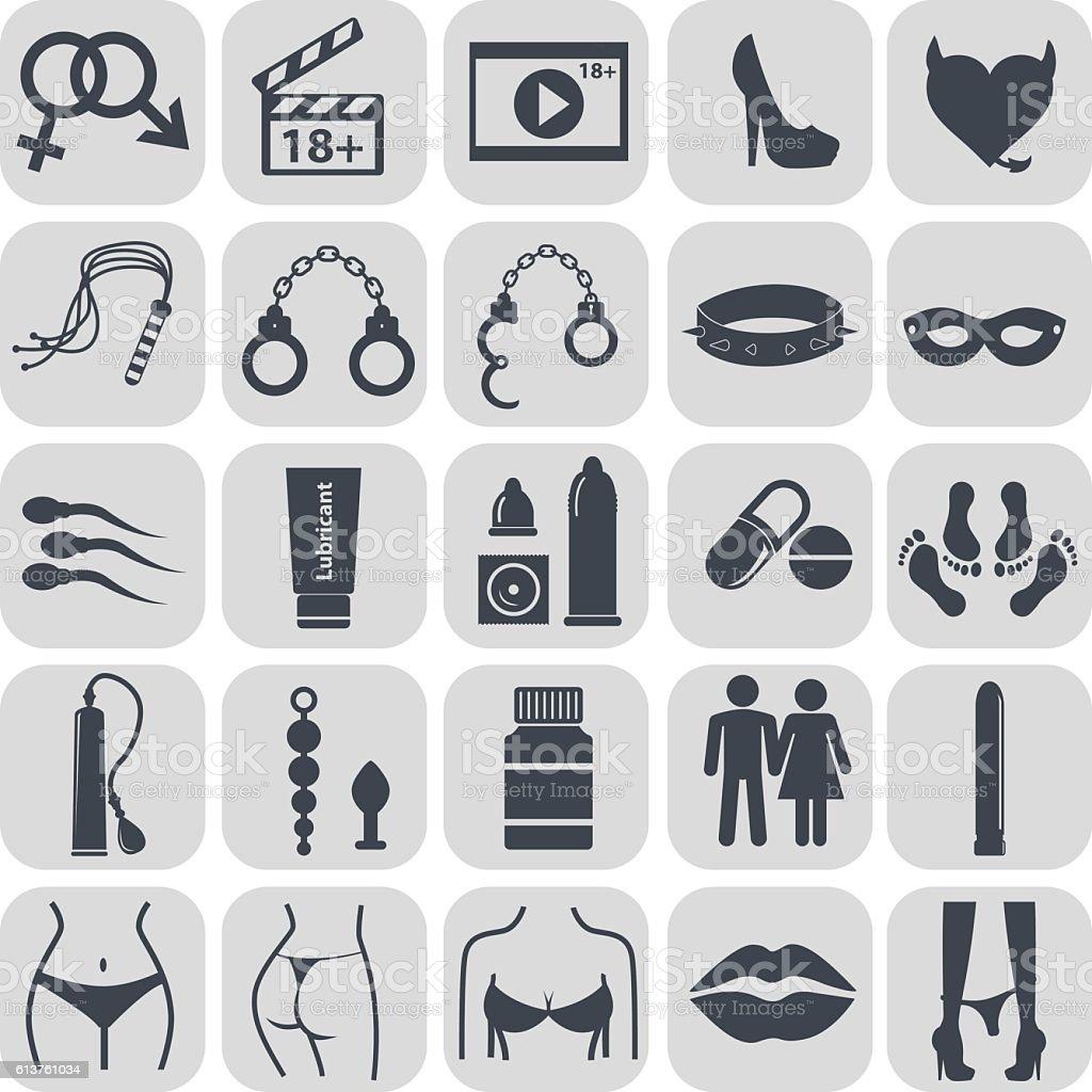 Sex icons set, symbol xxx vector art illustration