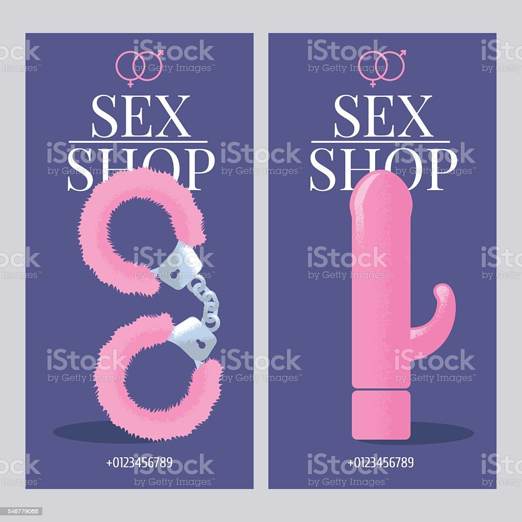 Sex shop vector flyer template set vector art illustration
