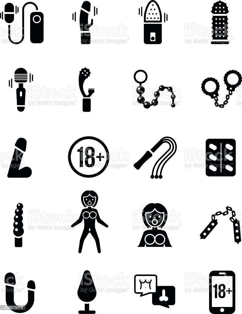 Sex Toy Vector Icon Set vector art illustration