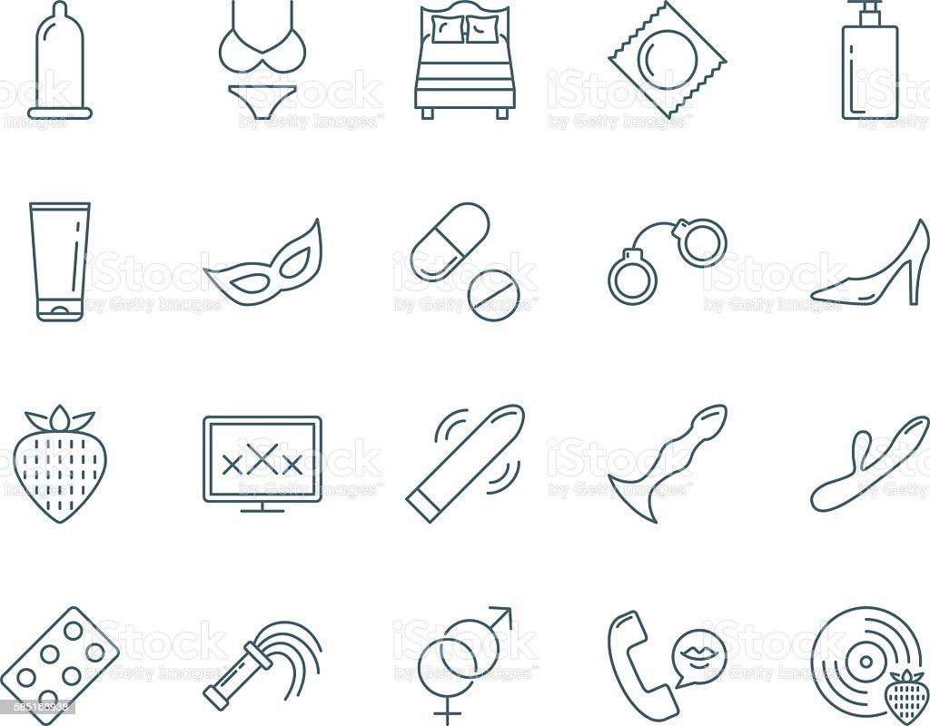 Sex vector icons set modern line style vector art illustration