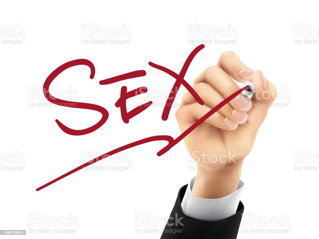 sex written by 3d hand vector art illustration