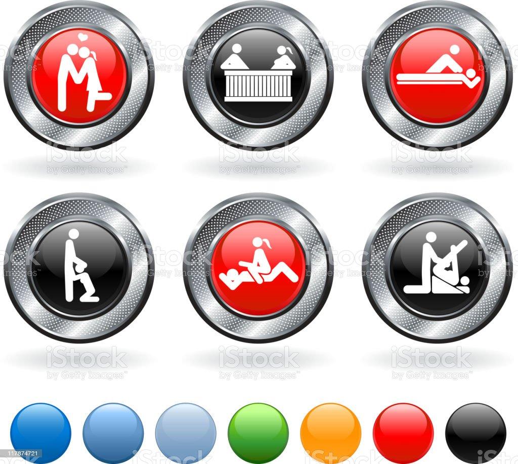 sexual activity royalty free vector icon set on metallic button vector art illustration