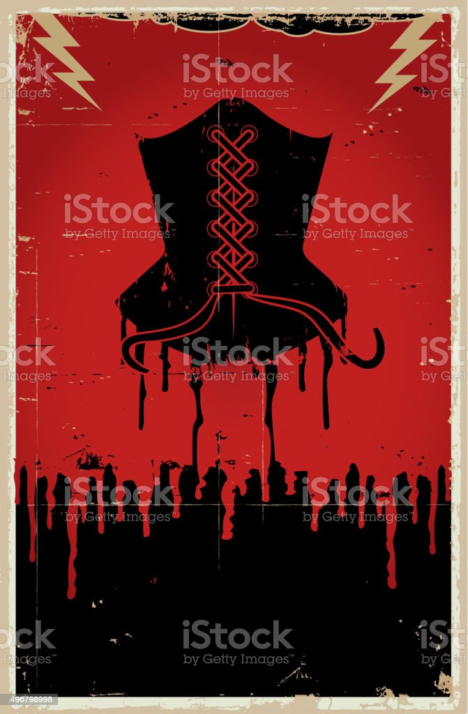 Sexy black corset lingerie with dripping blood vintage background poster vector art illustration