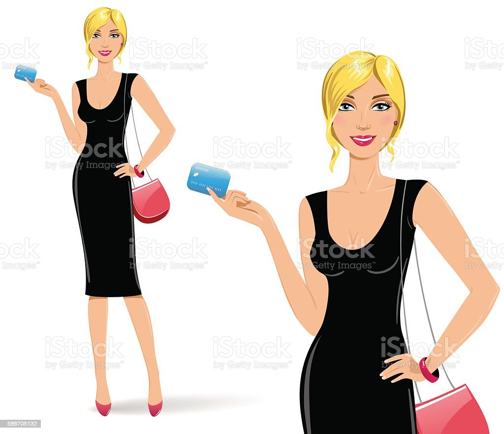 Sexy blonde woman is holding a credit card vector art illustration