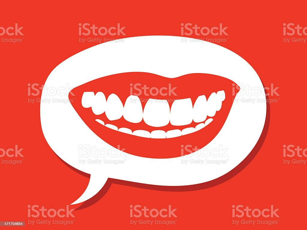 Sexy female mouth inside a speech bubble vector art illustration