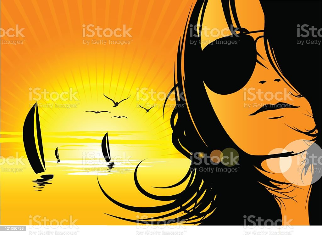 Sexy female with sailboats at sunset royalty-free stock vector art