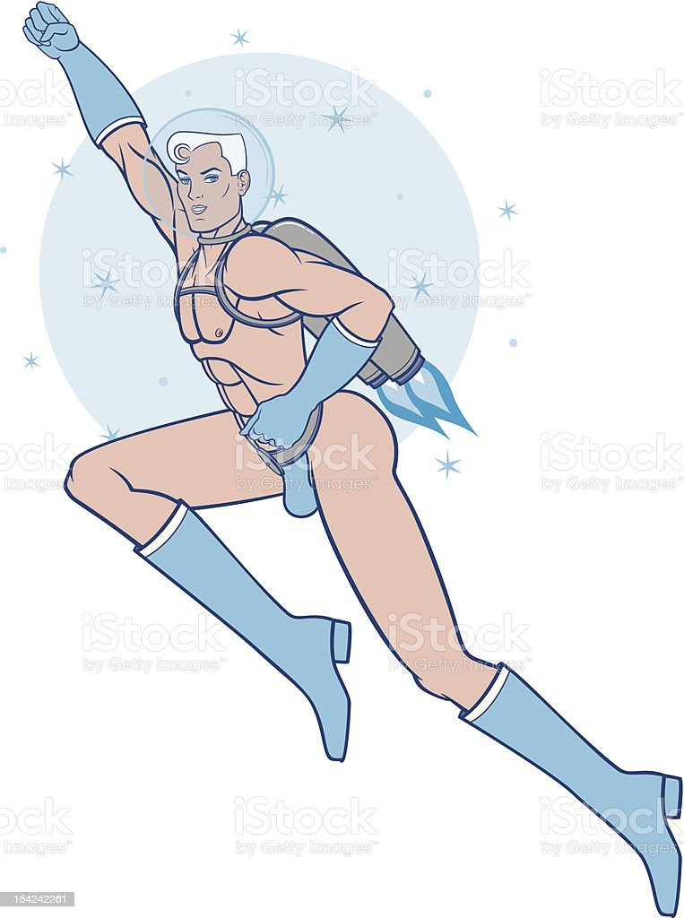 Sexy Flying Spaceboy (Isolated on White) vector art illustration