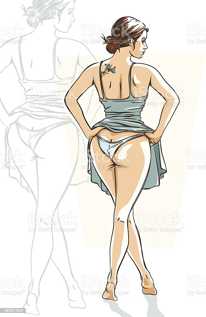 Sexy Girl in Blue Dress royalty-free stock vector art