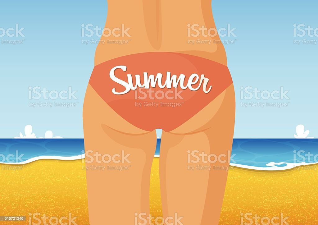 Sexy girl in pink bikini with seascape background. Vector. vector art illustration
