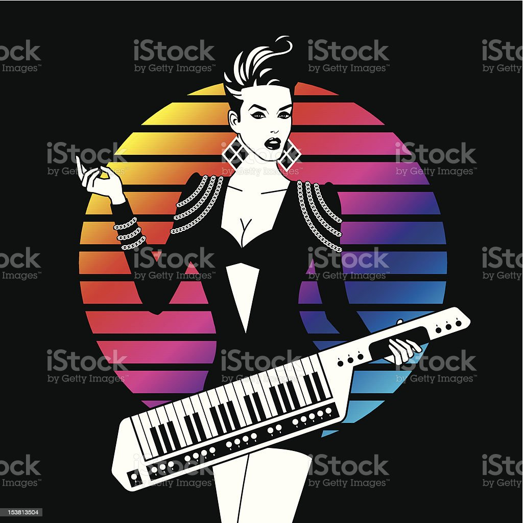 Sexy Girl With Keytar vector art illustration