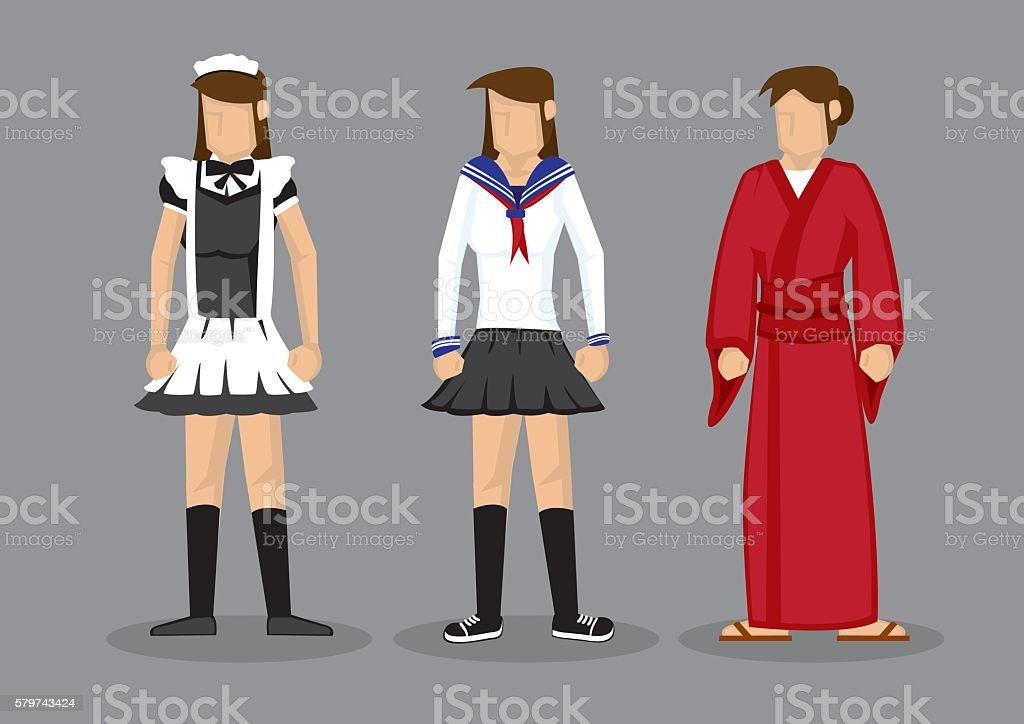 Sexy Girls in Japanese Theme Cosplay Costumes vector art illustration