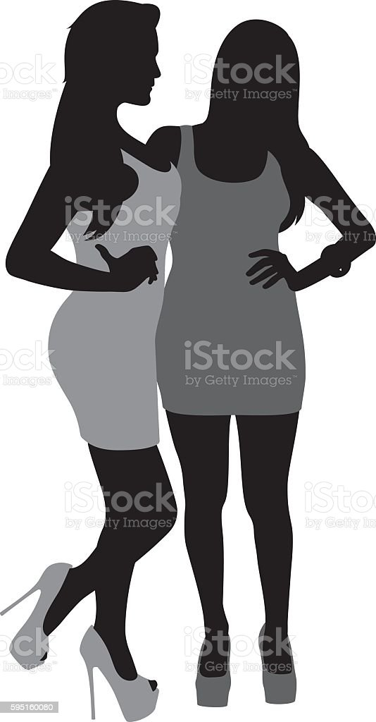 Sexy Girls Posing Silhouette vector art illustration