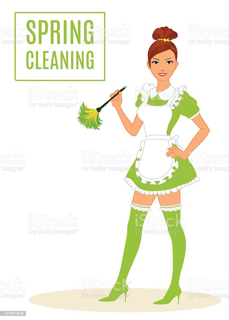 Sexy Maid/Cleaning Lady Dusting vector art illustration