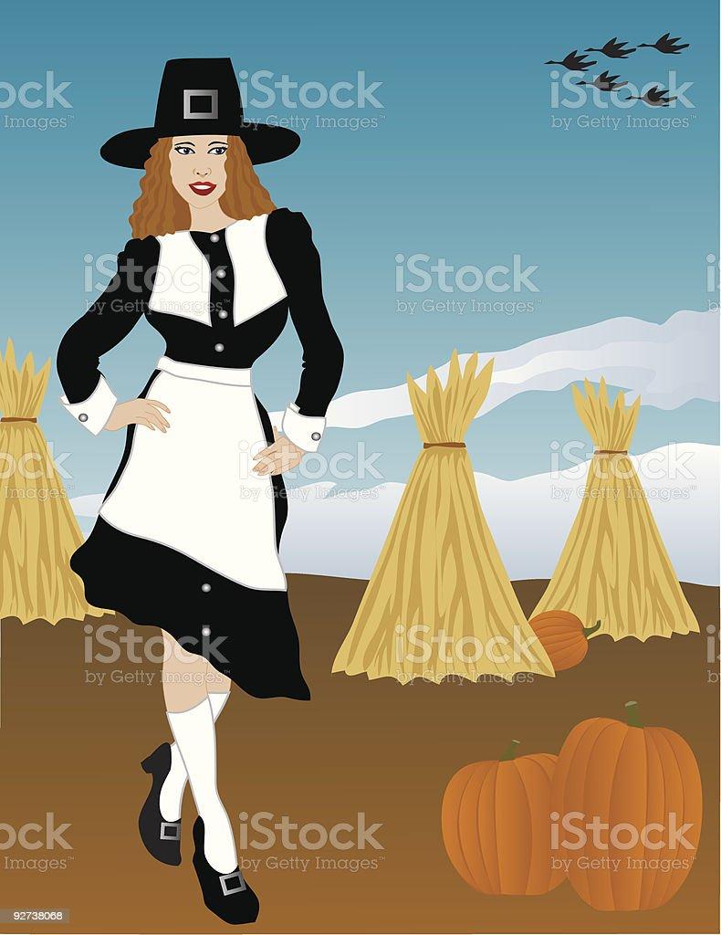 Sexy Pilgrim royalty-free stock vector art