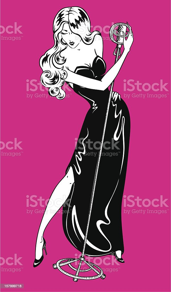 Sexy pin-up jazz singer. royalty-free stock vector art