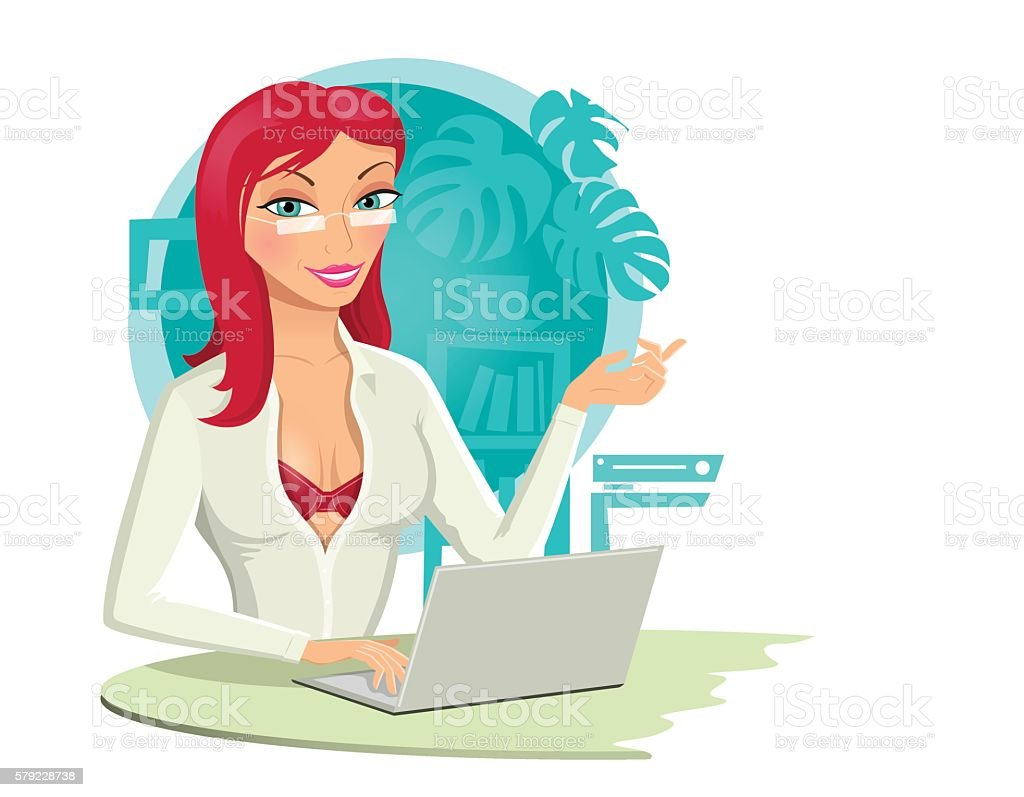 Sexy Redhead Girl With a Laptop vector art illustration