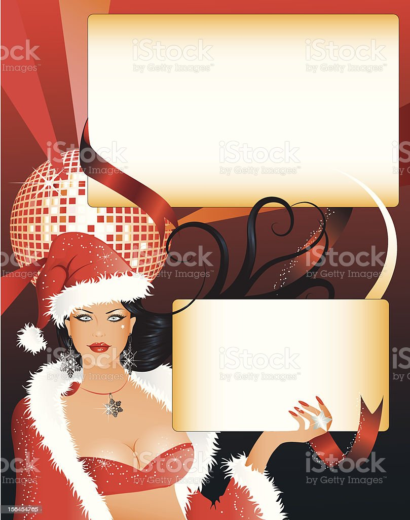 Sexy Santa girl with two blank spaces for your texts royalty-free stock vector art