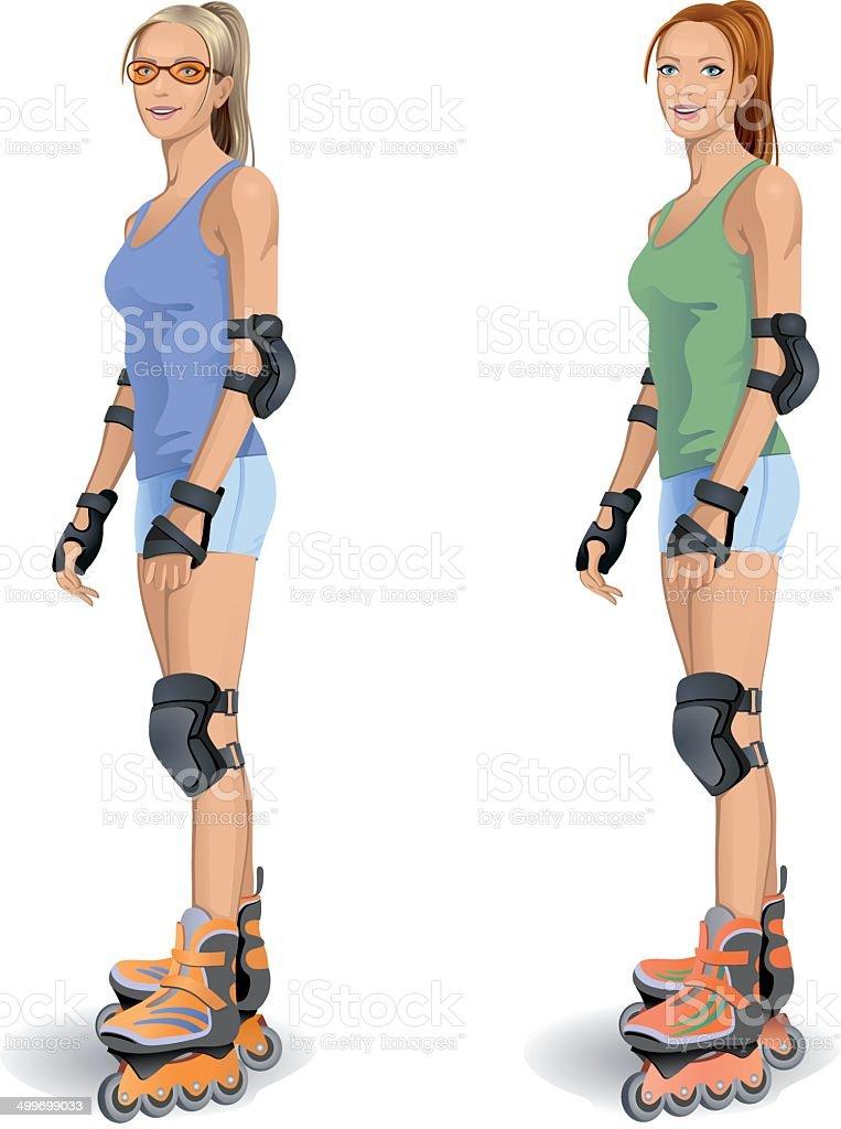 sexy skater vector art illustration