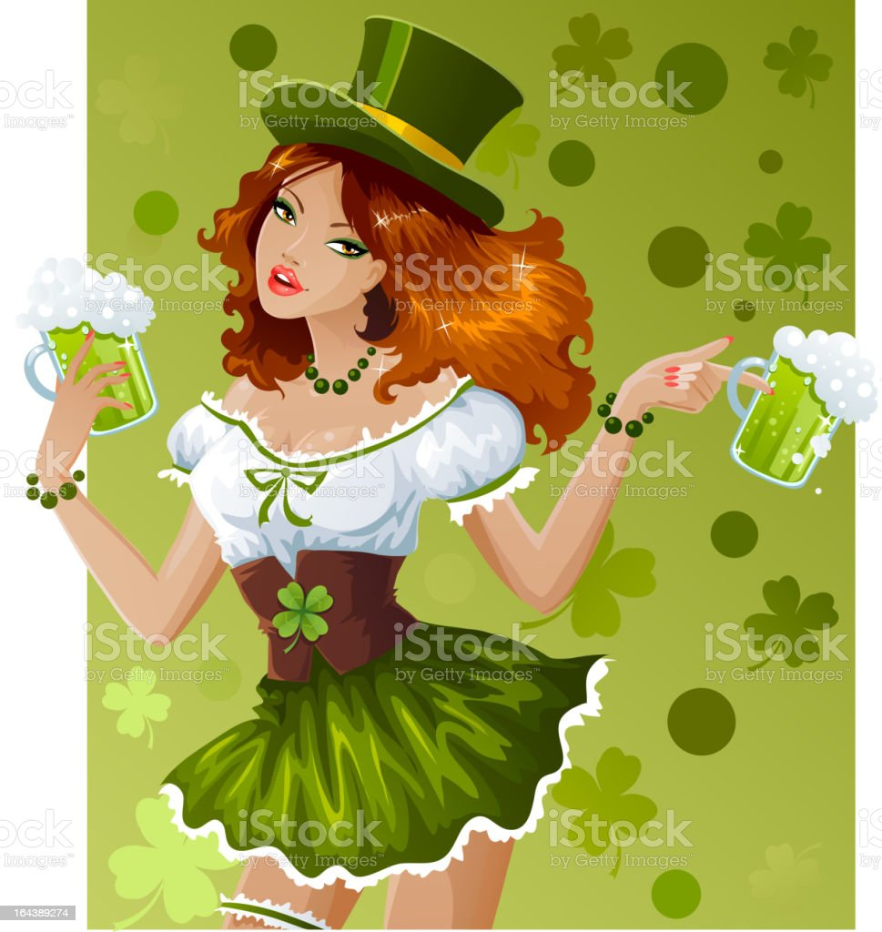 Sexy waitress for St.Patric's Day vector art illustration