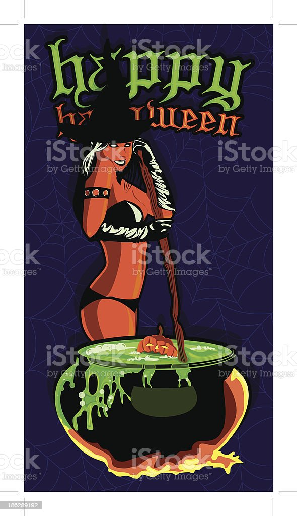 Sexy witch cooking in cauldron royalty-free stock vector art