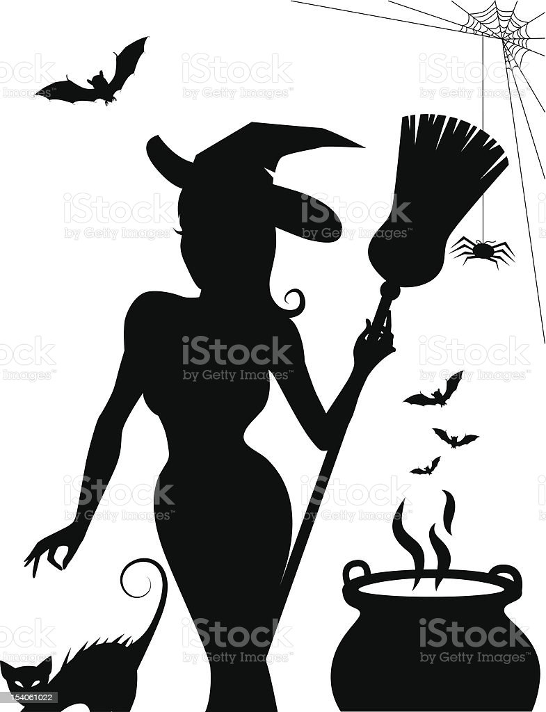 Sexy Witch Silhouette vector art illustration
