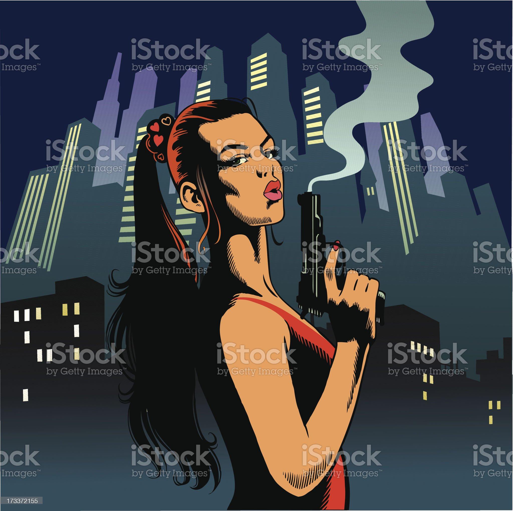 Sexy Woman Assassin royalty-free stock vector art