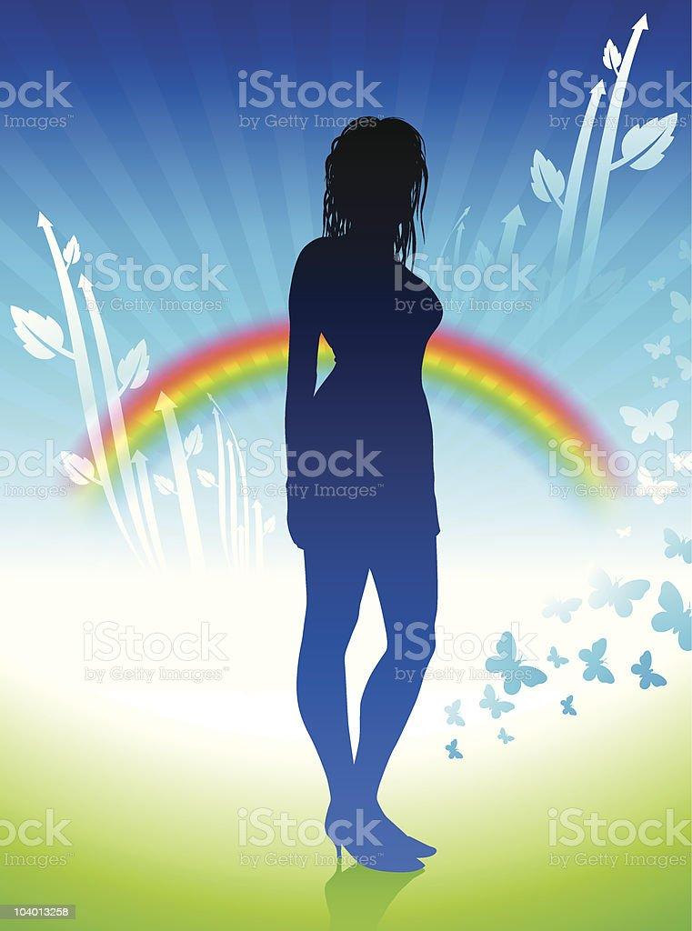 Sexy woman in nature internet background with rainbow royalty-free stock vector art