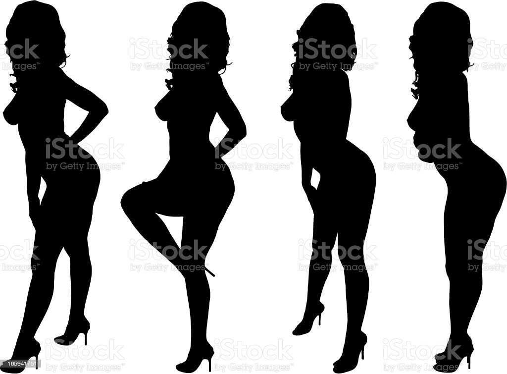 Sexy Woman Silhouettes vector art illustration