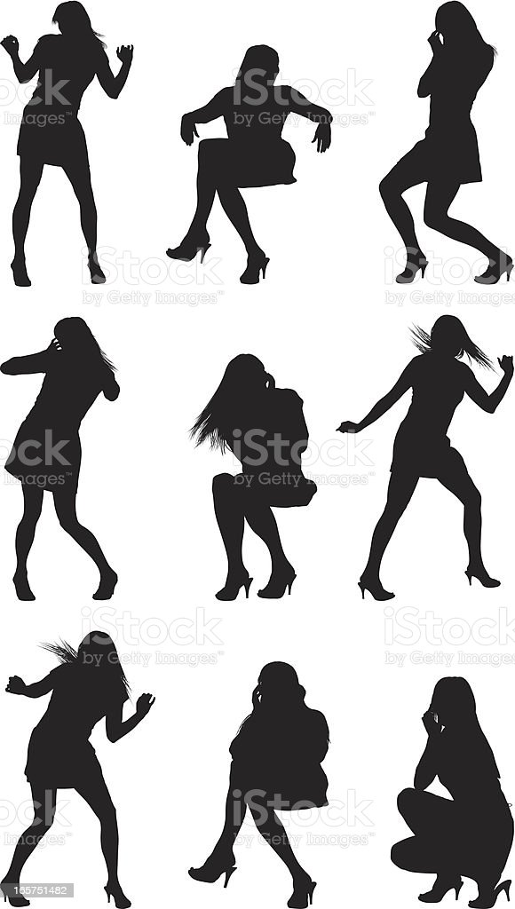 Sexy women dancing vector art illustration
