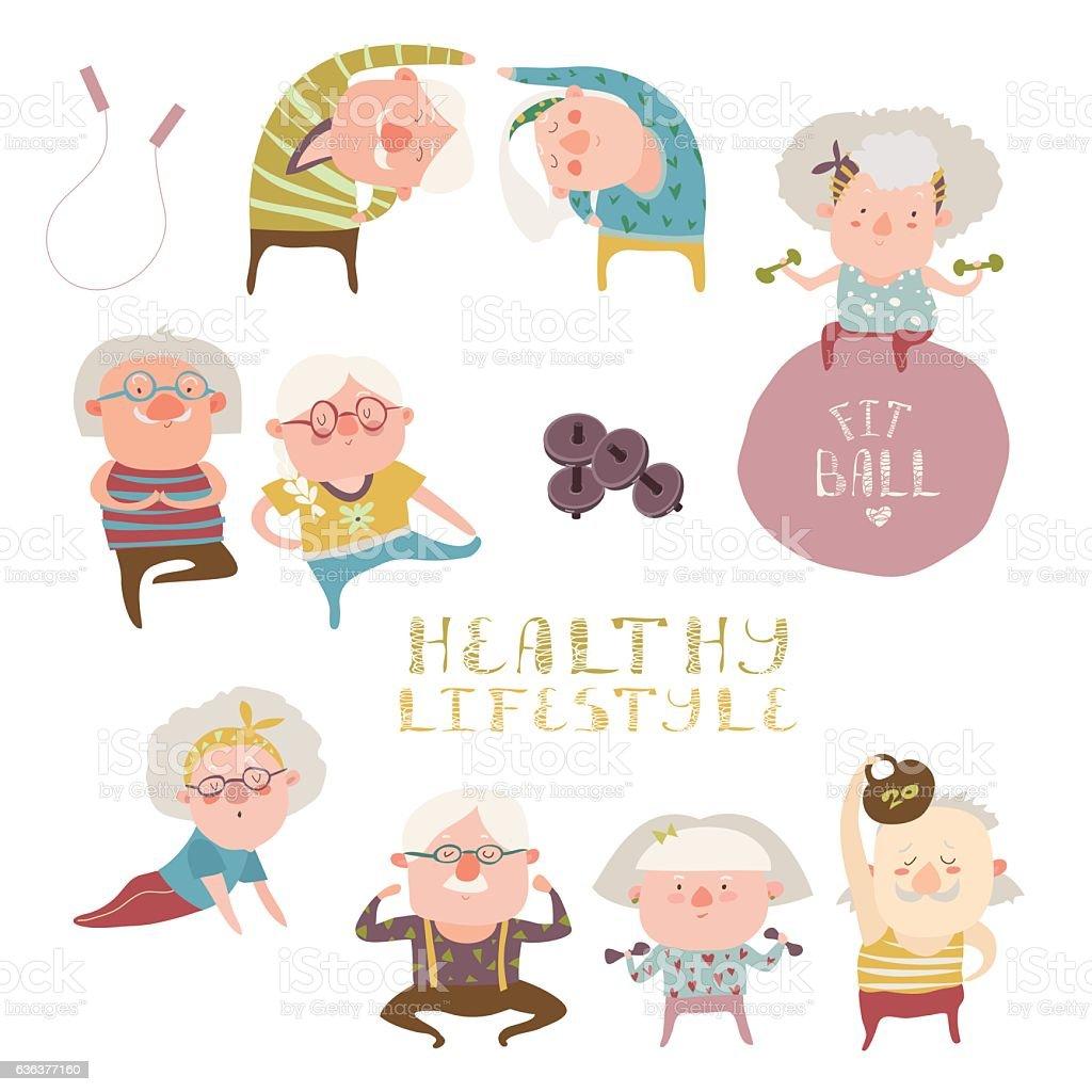 Sey of elderly people doing exercises vector art illustration