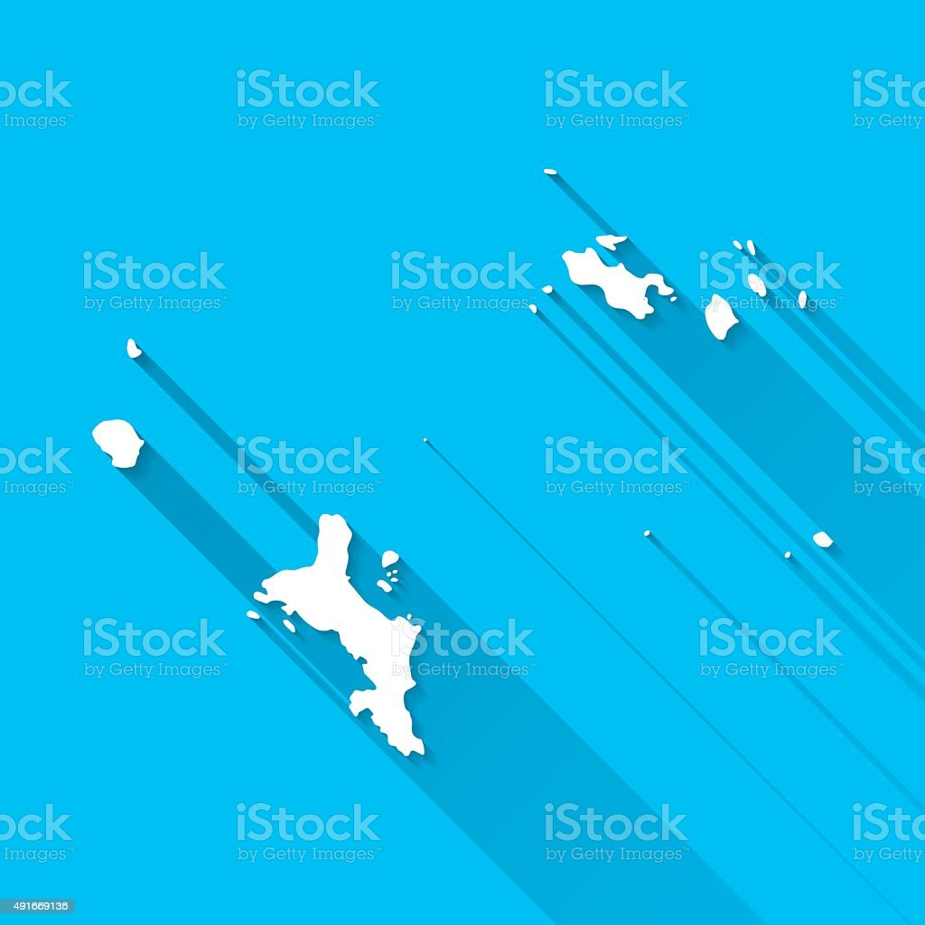 Seychelles Map on Blue Background, Long Shadow, Flat Design vector art illustration