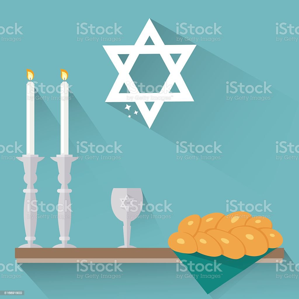 Shabbat candles, kiddush cup and challah in flat style. vector art illustration