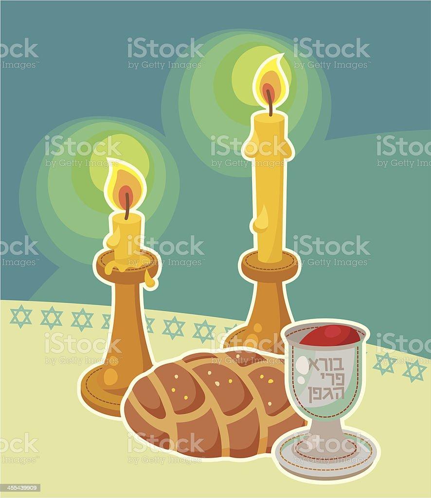 Shabbat table accessories vector art illustration