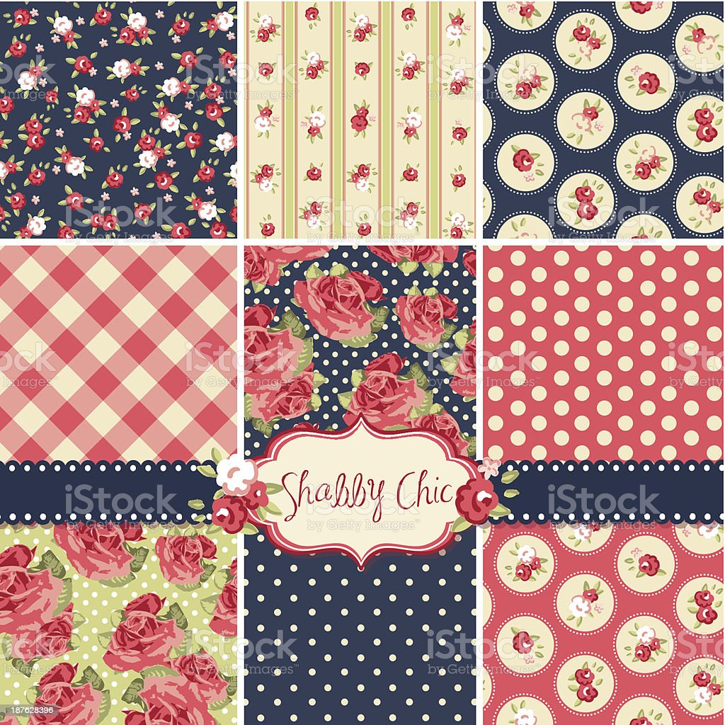 Shabby Chic Rose Patterns and seamless backgrounds. vector art illustration