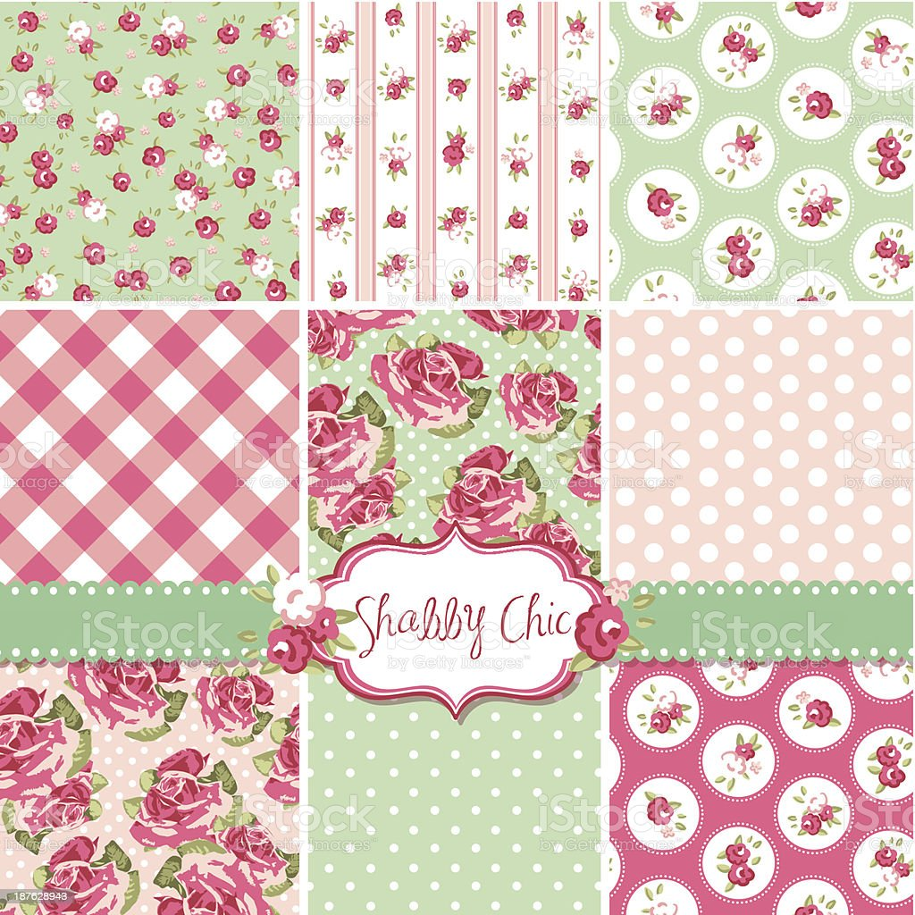 Shabby chic rose patterns in soft colors vector art illustration