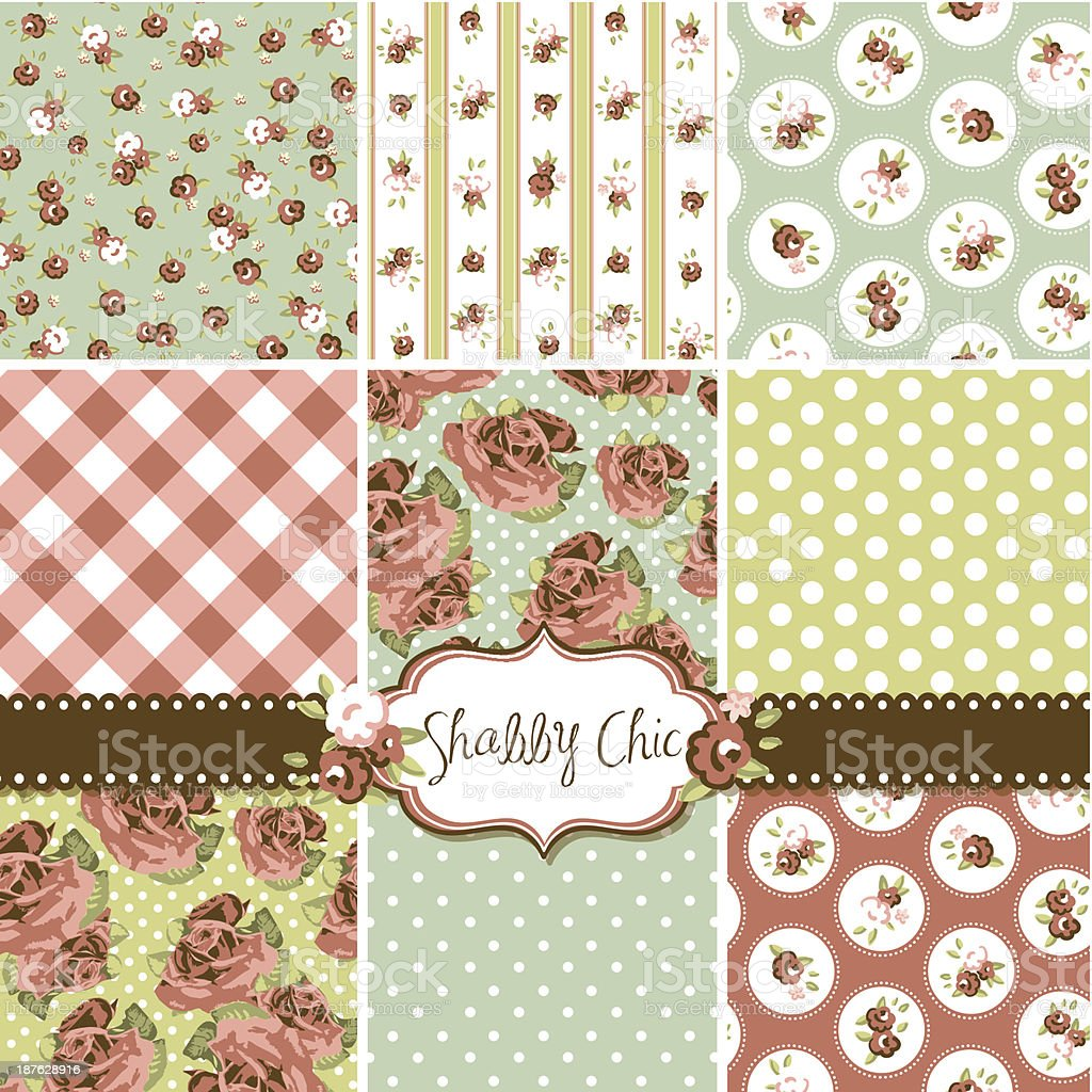Shabby Chic Rose Patterns royalty-free stock vector art