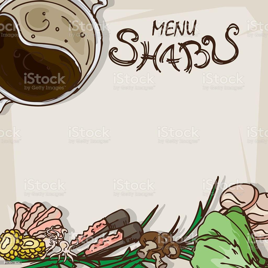 shabu menu vector art illustration