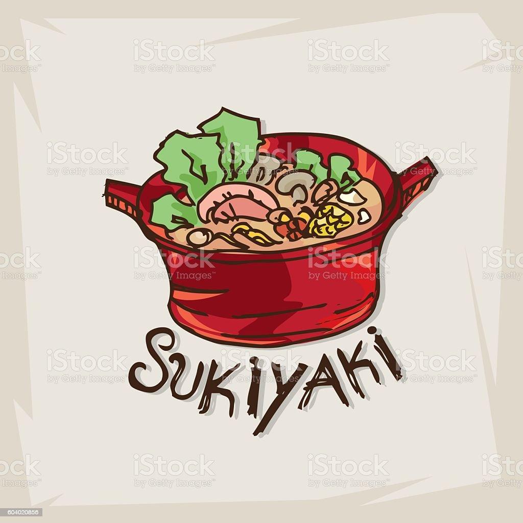 shabu sukiyaki vector art illustration