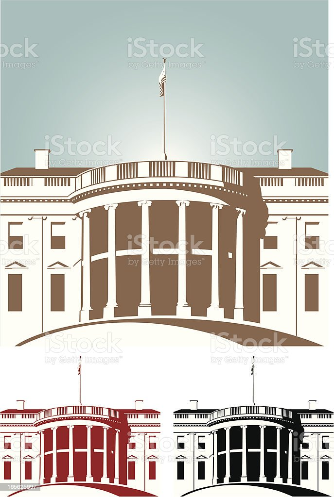 Shaded brown red and black White House royalty-free stock vector art