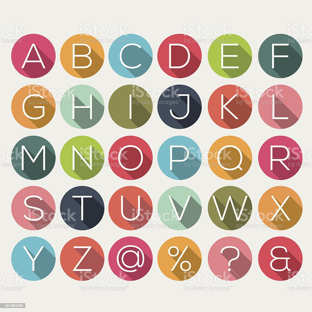 Shadow alphabet vector art illustration