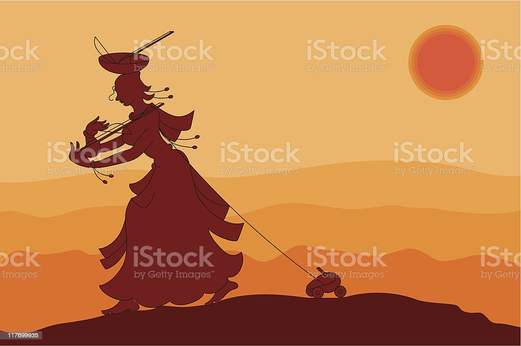 Shadow Art, Village Women toy seller vector art illustration