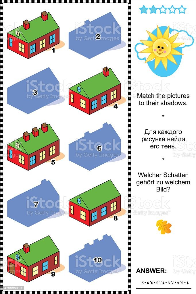 Shadow game with country houses vector art illustration