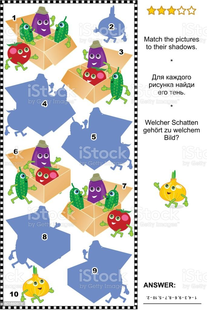 Shadow game with cute vegetable characters vector art illustration