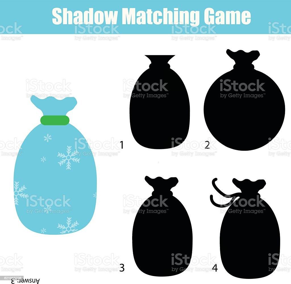shadow matching game christmas theme kids activity worksheet stock