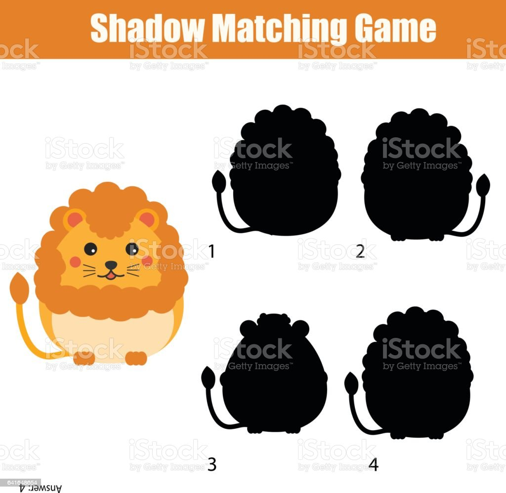 Shadow matching game. Find the correct silhouette for cute lion, kids activity, worksheet vector art illustration