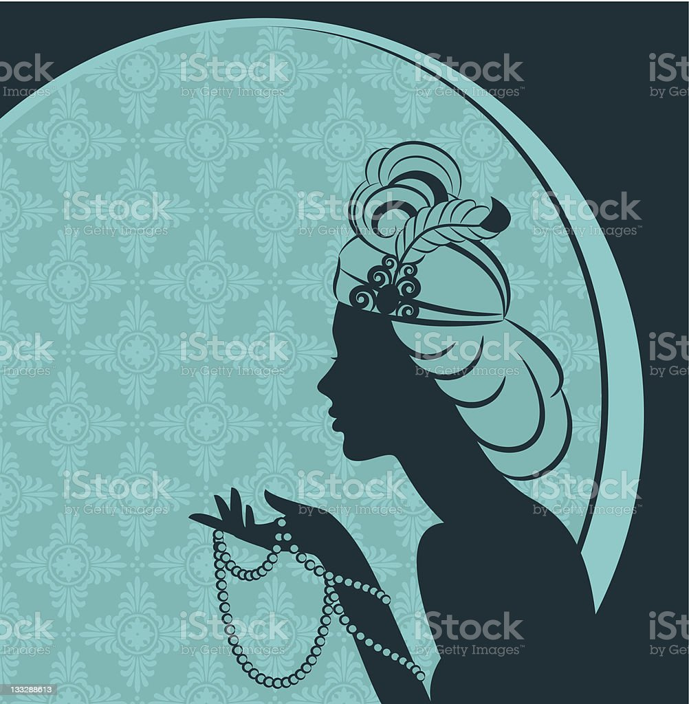 A shadow of a 1920s woman's silhouette royalty-free stock vector art