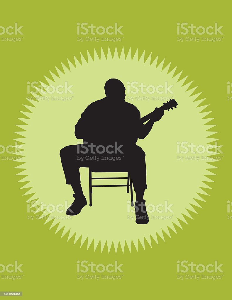Shadow of male guitarist sitting on a chair playing guitar vector art illustration