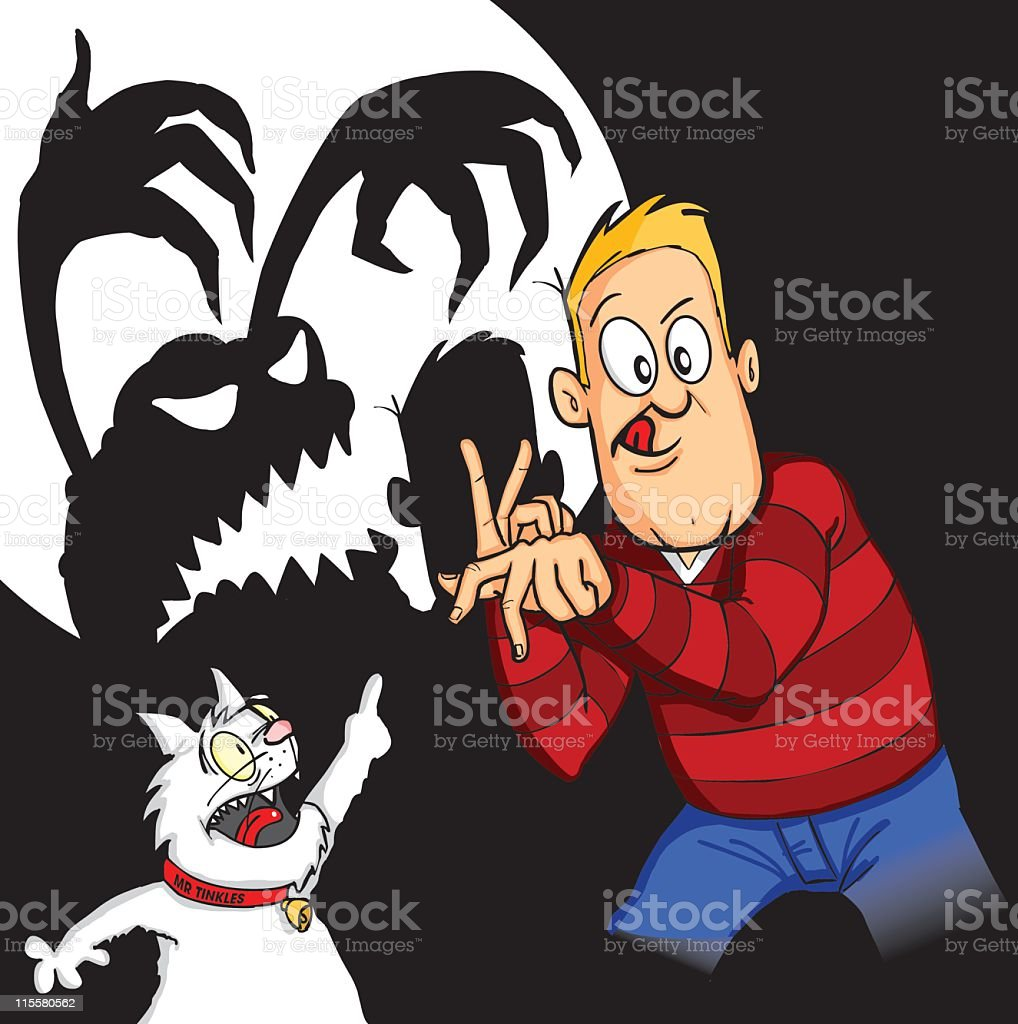Shadow Puppet Terror & Mr Tinkles royalty-free stock vector art